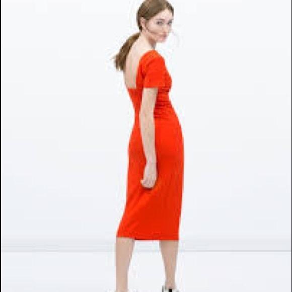 a7d3da6ff5106 NWT Zara Orange Midi Low Back Column Dress L